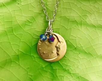 Handmade in USA NEW Brass Plated Crescent Moon and Stars Necklace with Austrian Crystals on Stainless Steel Chain 18inch length