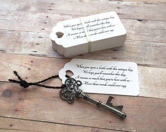 "Skeleton Key BOTTLE OPENERS + ""Poem"" Thank-You Tags – Wedding Favors set of 50 - Ships from United States - Gunmetal Black"