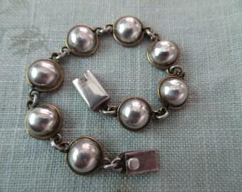 sterling silver link bracelet -  round, domed, circles, 925