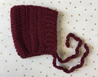 ELLIOT - crochet pixie baby bonnet - deep cranberry - MADE to ORDER