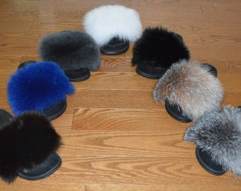 Real Fox Fur Slide Sandals Slippers Slides New
