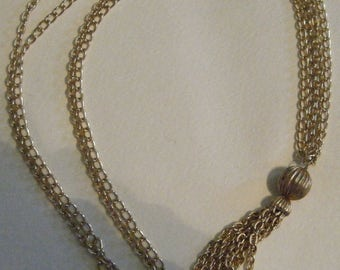Double Strand Gold Tone Tassel Necklace // Light weight Jewelry