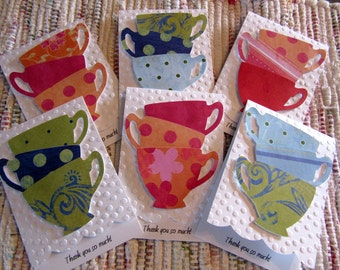 Thank You Cards  Tea Cups  Set of 6