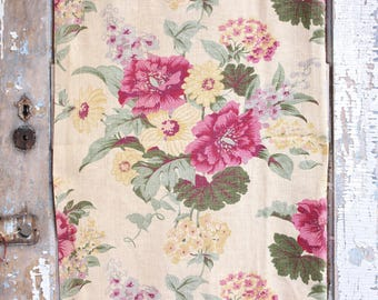 Antique English Cabbage Roses Floral Pattern Decorative Designer Custom Vintage French Linen Fabric Panel