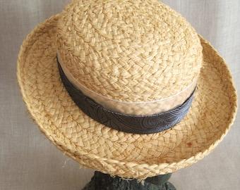 Womens Sun Hat, Dress Hat, Ladies Derby Hat, Easter, Wil Shepherd, Straw, Church,Silk Band,High Fashion,Wedding Hats,Handmade,Natural,Summer