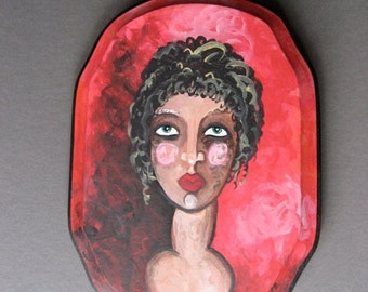 50% Off Sale Original Painting - Portrait of Greek Lady with Red Backdrop - Small Painting on Wood - Ready To Hang