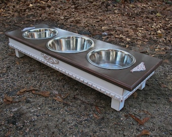 Raised Dog Feeder, Pet Feeding, Distressed White/Dark Brown, Cottage Chic, 2 Two Qt, 1 Three Qt, Stainless Bowls Made to Order
