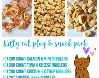 Kitty Cat Play and Snack Pack - 4 bags of treats + 6 cat toys - try them all - tuna salmon chicken catnip - treat box