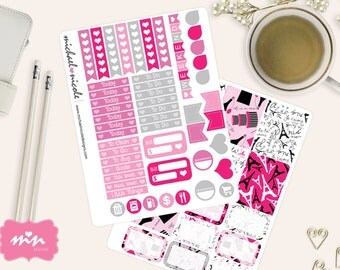 Pink Paris Weekly Planner Stickers perfect for Erin Condren | Item MP-002