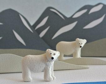 Arctic animal jewelry - cute polar bear brooch - white jewelry handmade - gift for girls
