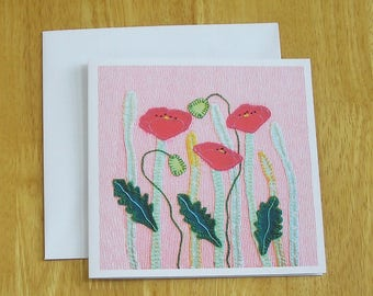 Poppy Meadow Greetings Card, Recycled Card, Art Card, Wild Flower Card