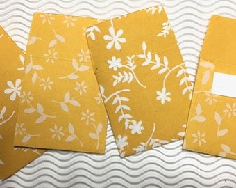4 teeny tiny envelopes yellow handmade papers miniature mini note sets square stationery party favors weddings guest book table numbers