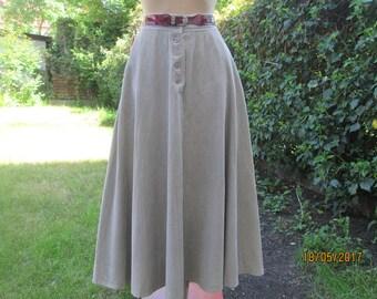Long Corduroy Skirt / Circle Skirt / Cotton Skirt / Skirt Pockets /Corduroy Skirt /Skirt Vintage / Beige / Size EUR38 / UK10