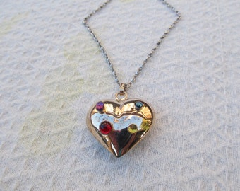 Sterling Silver Cabochon Gemstones Puffy Heart Pendant Necklace