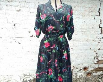 Vintage Black Floral 2 Piece Top and Skirt Set Size Medium