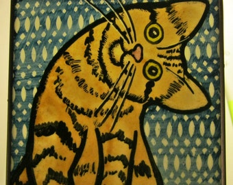 Stained Glass Yellow Tabby  Cat Suncatcher  JRNcat043