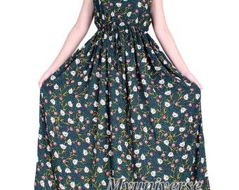 Cotton Plus Size Maxi Dress Sundress Women Plus Size Dress Clothing With Pockets Dress Hanky Dress Long Dress Summer African Floral Dress