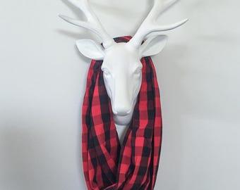 Infinity Scarf - Red & Black Buffalo Check Plaid - Cotton Jersey Blend Knit