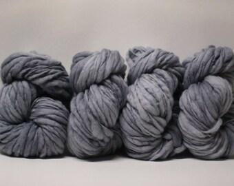 Hand Spun Merino Wool Thick and Thin Yarn Merino Bulky Slub  Hand Dyed tts(tm) Light Grey