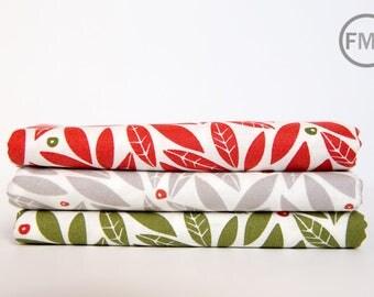 Fat Quarter Bundle Merrily Winter Holly, 3 Pieces, Gingiber, 100% Cotton, Moda Fabrics, 48212