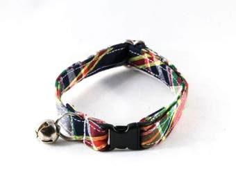 Preppy Navy Blue Madras Kitty Collar