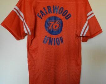 vintage 70s Jersey Gas Station Union 76 sports mesh Hutch Medium ORANGE Fairwood Washington Seattle RARE 80s