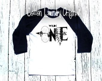 "Birthday Boy tee shirt for the hipster kid Happy Birthday Boys tee shirt ""Wild & One or One"""