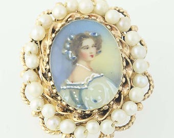 Convertible Portrait Brooch - 14k Gold Pearls Hand-Painted Accents Pendant N8577