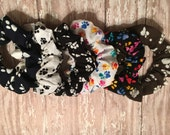 Paw Print Collection Select from Variety of Patterns Fabric Hair Scrunchie Tie Elastic