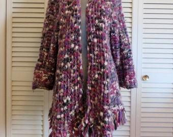 Vintage Ombre Fuzzy Chunky Sweater Free Size S M L Purple Grey Pink Boho Hippie Gypsy Club Kid Grunge Bohemian Mod 70s Folk Art Festival