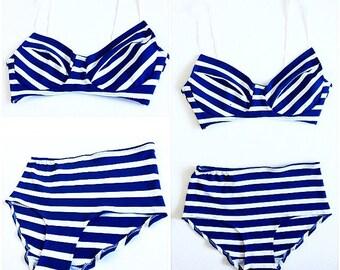 Blue And White Striped Bra Set - No Underwire