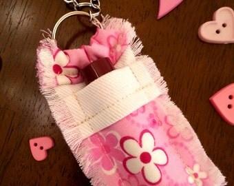Lip Balm Holder Keychain, Chapstick Holder, Pink Flowers, Denim Accessory, Gift for Women, Gift for Girl, Stocking Stuffer, Hand Sewn Gift