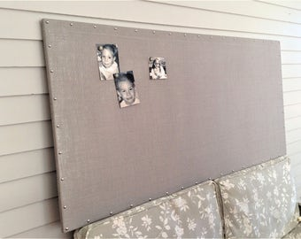 "Huge Bulletin Board X-Large Long Burlap MAGNETIC Pin Board Ash Gray 32 x 66"" Hardwood Construction Siver Nail Upholstery Tacks Button Magnet"