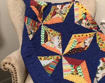 Kaleidoscope-Pieced-Throw-Quilt