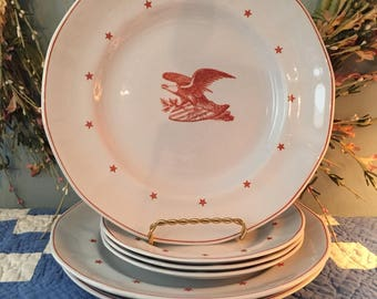 HTF! Wedgewood American Eagle Red lot of 6 plates gorgeous for wall fisplay or add to collection! Bicentennial 1976