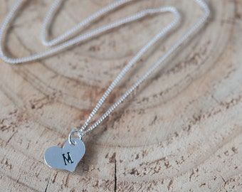 Monogram Heart Charm Necklace Personalized Hand Stamped Jewelry for Bridesmaid Valentine Gift Idea for Girlfriend Minimalist Initial Jewelry