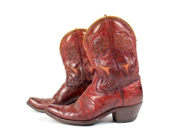 1950s Acme Peewee Red Flower Boots