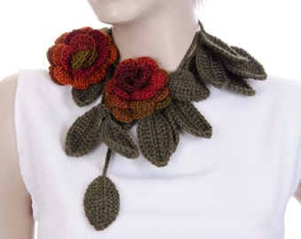Dark red  rose crochet flower jewelry scarf/crochet scarf  / crochet necklace/ with  removable flower brooch
