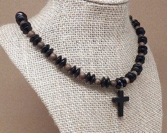 Black and Brown Cross Necklace, Beaded Gemstone Necklace, Black Gemstone Pendant, Beaded Glass Necklace, Cross Pendant, Black Pendant