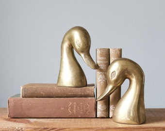 Vintage Pair of Mid Century Brass Swan Bird Bookends | Figurines