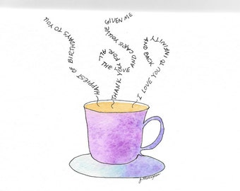 Birthday Card for Mom or Anyone PERSONALIZED for FREE Original Hand-Painted Watercolor Card Cup o' Joe Coffee Cup Steaming Coffee Mug