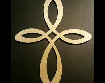 Cross, Celtic Cross, Wood Cross Cut Out Shape, Unpainted, Great for Layering, Supply Destash, 7 inches tall!