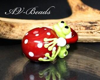 AV-Beads handmade Lampwork Christmas Frog bead SRA