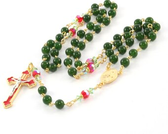 Christmas Rosary, Greenstone (Nephrite Jade) & Swarovski® Crystal Beads
