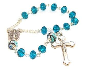 Catholic Pocket Rosary, Miraculous Medal Center & White Crucifix