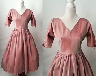 Vintage 1950s Rose Pink Taffeta Party Dress