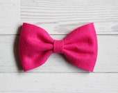 Fuchsia {MILLIE} Bow - You Choose Nylon Headband or Alligator Clip - Felt Bow - Ready to Ship