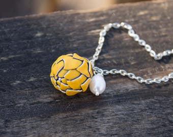 Yellow Artichoke Polymer Clay Flower Planter Pendant Medallion Small Handmade Women Birthday Wedding Bridal Mother Gift Jewelry Accessory