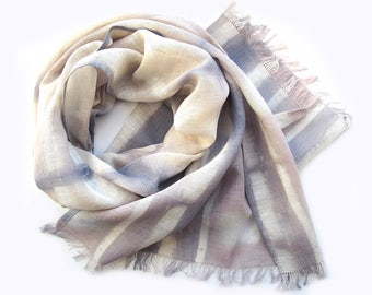 Linen Scarf, Hand-dyed Scarf, Long Linen Spring Scarf