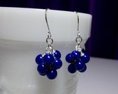 30% OFF thru Mon Cobalt Royal Blue Pearl Small Cluster Earrings, Mom Sister Bridesmaid Christmas Jewelry Gift, Cocktail